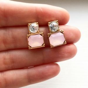 Diamond & blush pink quartz drop stud earrings